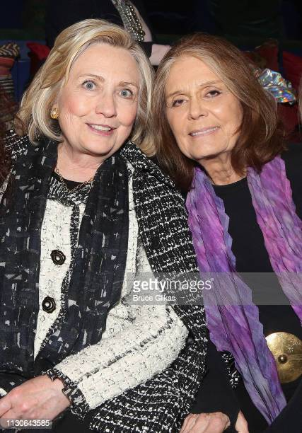 Hillary Rodham Clinton and Gloria Steinem attend a performance of 'Gloria A Life' at The Daryl Roth Theater in honor of 'International Women's Week'...