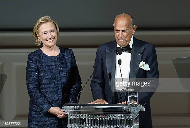 Hillary Rodham Clinton and Oscar de la Renta onstage at the 2013 CFDA Fashion Awards on June 3 2013 in New York United States