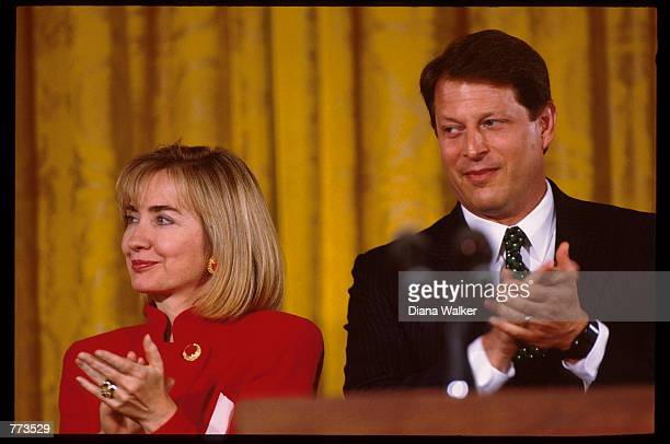 Hillary Rodham Clinton and Vice President Al Gore clap December 2 1994 in Washington DC After taking office President Clinton chose Hillary Clinton...