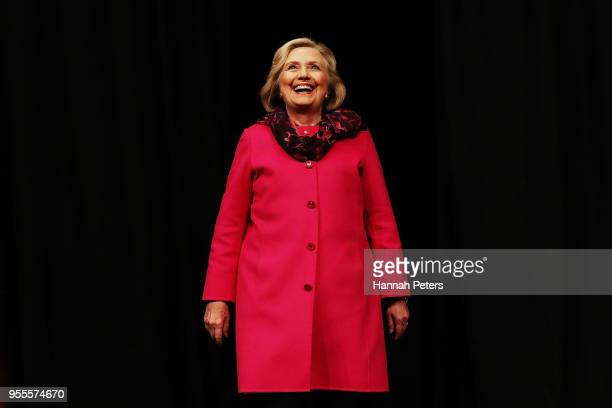 Hillary Rodham Clinton arrives to speak during An Evening with Hillary Rodham Clinton at Spark Arena on May 7 2018 in Auckland New Zealand The former...