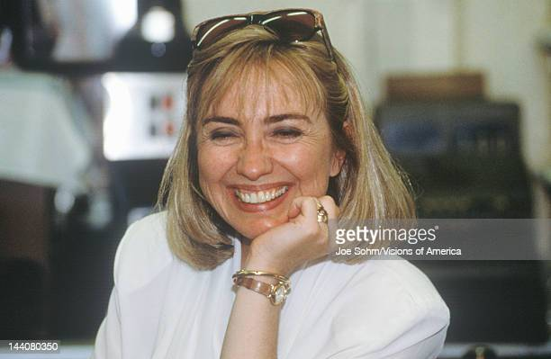 Hillary Rodham Clinton at Dee's Restaurant during the Clinton/Gore 1992 Buscapade campaign tour in Corsicana Texas