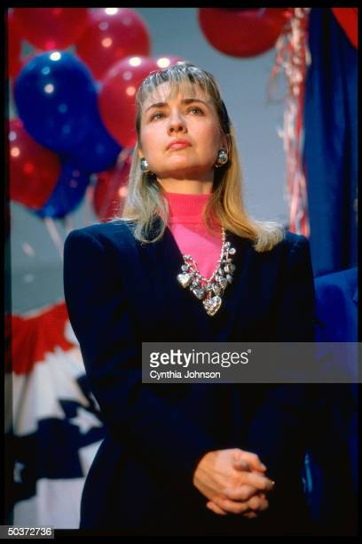 Hillary Rodham Clinton at primary campaign rally for her husband Democratic presidential hopeful AR Gov Bill Clinton
