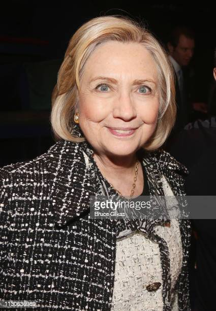 Hillary Rodham Clinton attends a performance of 'Gloria A Life' at The Daryl Roth Theater in honor of 'International Women's Week' on March 14 2019...