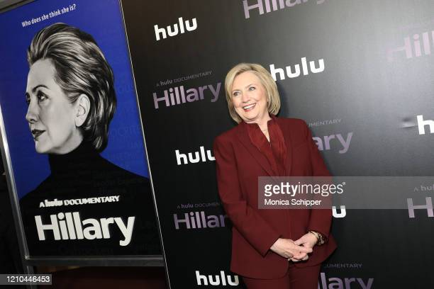 """Hillary Rodham Clinton attends Hulu's """"Hillary"""" NYC Premiere on March 04, 2020 in New York City."""