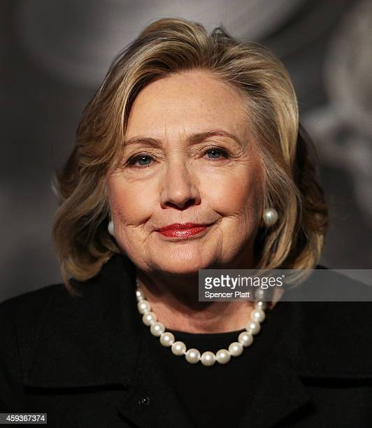 Hillary Rodham Clinton attends the Cookstoves Future Summit on November 21 2014 in New York City Clinton who is the Leadership Council Chair for the...