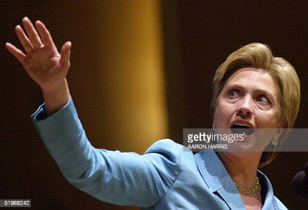 Hillary Rodham Clinton gestures while speaking to supporters at Kleinhans Music Hall following her debate in the New York State Senate race with US...