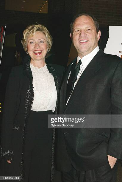 Hillary Rodham Clinton Harvey Weinstein during Miramax premiere of Finding Neverland at Brooklyn Museum of Art in Brooklyn New York United States
