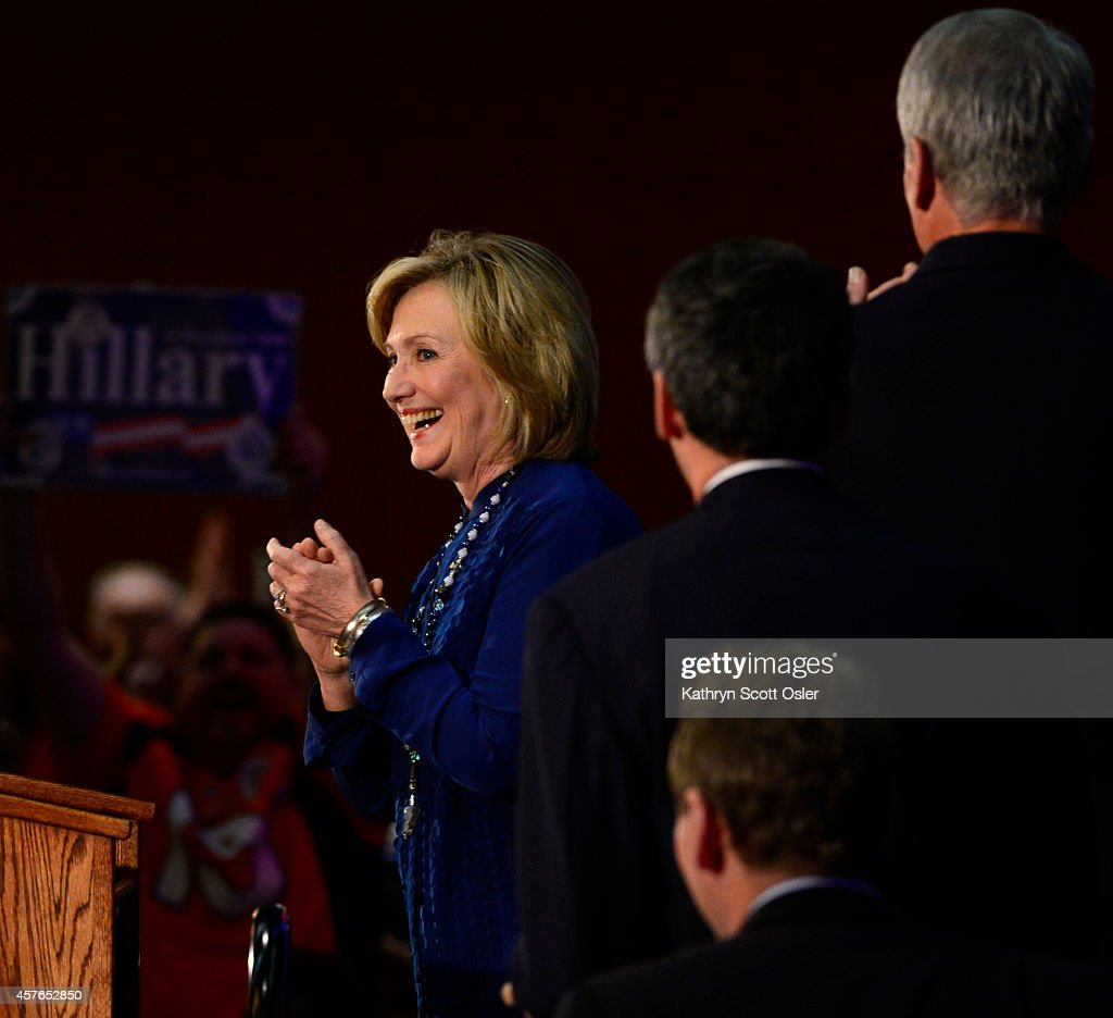 Hillary Rodham Clinton joins U.S. Senator Mark Udall, U.S. Senator Michael Bennet, Candidate for Congress Andrew Romanoff and Governor John Hickenlooper in a get out the vote rally at the Radisson Denver Southeast in Aurora... : News Photo