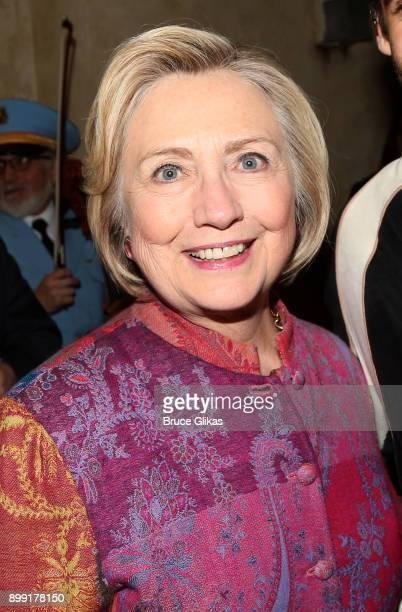 Hillary Rodham Clinton poses backstage at the hit musical 'The Band's Visit' on Broadway at The Barrymore Theatre on December 27 2017 in New York City