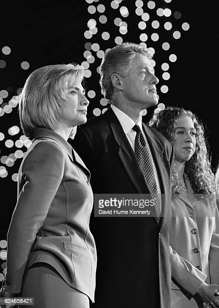 Hillary Rodham Clinton President Bill Clinton and daughter Chelsea on stage at the Old State House in Little Rock on election night November 5 1996