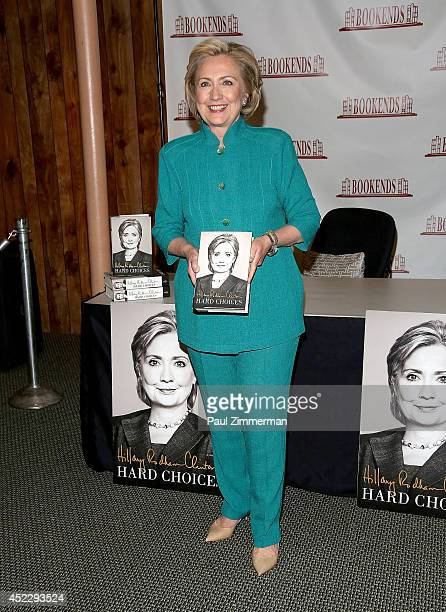 """Hillary Rodham Clinton promotes """"Hard Choices"""" at Bookends Bookstore on July 17, 2014 in Ridgewood, New Jersey."""