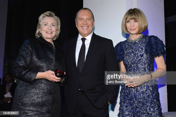 Hillary Rodham Clinton recipient of the Michael Kors Award for Outstanding Community Service Designer Michael Kors and Vogue editorinchief Anna...