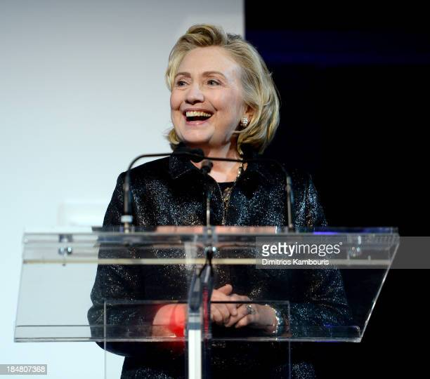 Hillary Rodham Clinton recipient of the Michael Kors Award for Outstanding Community Service speaks onstage at God's Love We Deliver 2013 Golden...