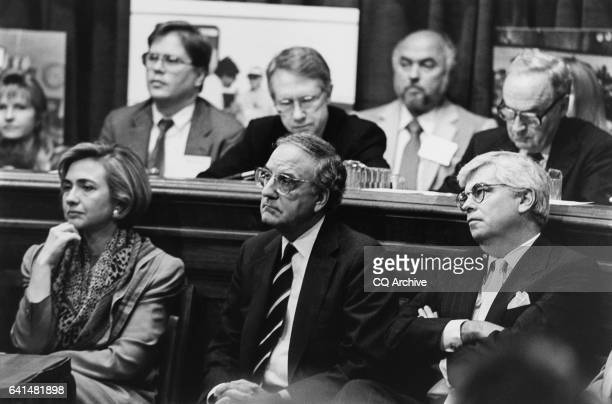 Hillary Rodham Clinton Sens George Mitchell Harry Reid Chris Dodd and Harris Wofford at Health Right Briefing highlighting younger Americans...