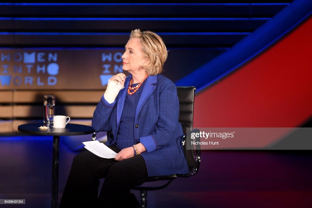 Hillary Rodham Clinton speaks on stage at the 2018 Women In The World Summit at Lincoln Center on April 13, 2018 in New York City.