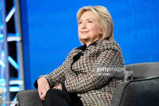 Hillary Rodham Clinton speaks onstage during the Hulu Panel at Winter TCA 2020 at The Langham Huntington, Pasadena on January 17, 2020 in Pasadena,...
