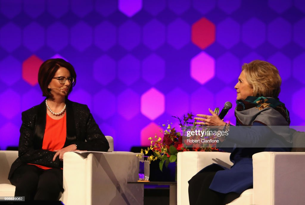 Hillary Rodham Clinton speaks with Julia Gillard during An Evening With Hillary Rodham Clinton at The Melbourne Convention and Exhibition Centre on May 10, 2018 in Melbourne, Australia. The former US Secretary of State and Democratic presidential candidate, who lost the 2016 US election to Donald Trump, is touring Australia and New Zealand speaking about being a women in politics.