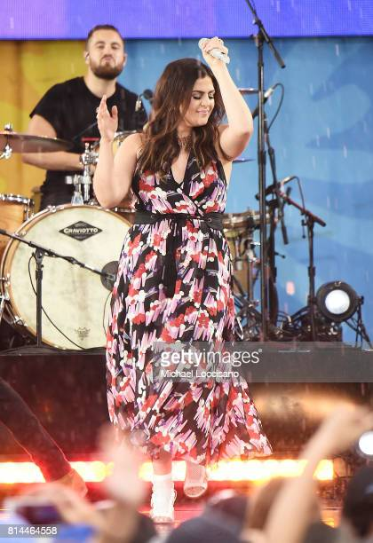 Hillary Scott and of Lady Antebellum and her husband drummer Chris Tyrrell perform on ABC's 'Good Morning America' at Rumsey Playfield on July 14...