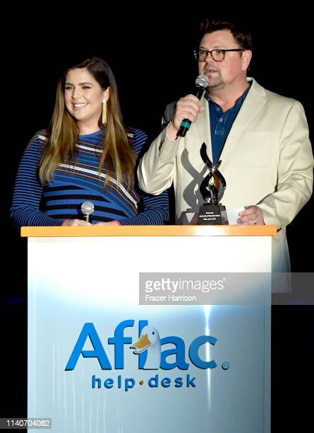 Hillary Scott and Storme Warren speak onstage at ACM Stories Songs Stars A Songwriter's Event Benefiting ACM Lifting Lives on April 05 2019 in Las...