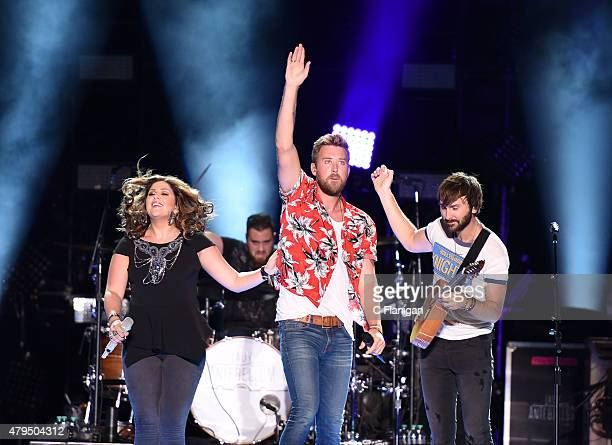 Hillary Scott, Charles Kelley and Dave Haywood of Lady Antebellum perform at LP Field during the 2015 CMA Festival on June 12, 2015 in Nashville,...
