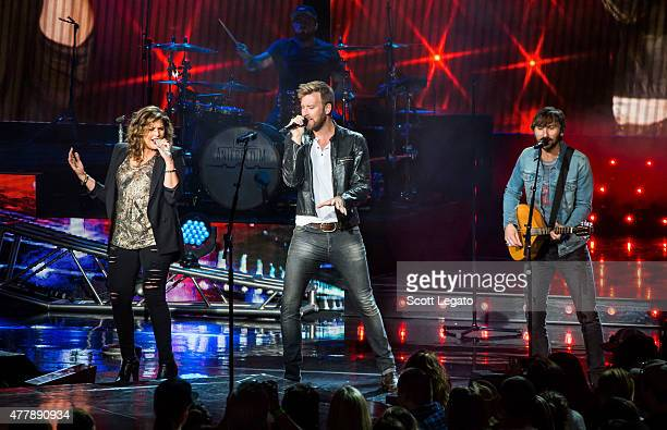 Hillary Scott Charles Kelley and Dave Haywood of Lady Antebellum perform in support of the Wheels Up 2015 Tour at DTE Energy Music Theater on June 19...