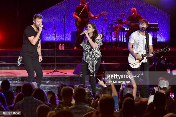Hillary Scott Charles Kelley and Dave Haywood of Lady Antebellum perform during The Summer Plays On Tour at Toyota Amphitheatre on August 17 2018 in...