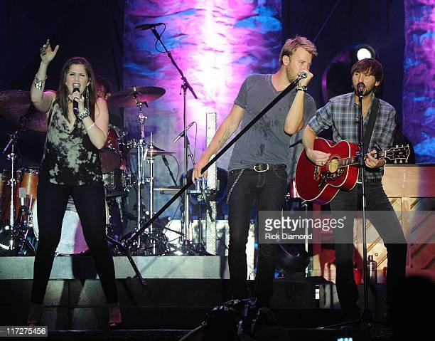 Hillary Scott Charles Kelley and Dave Haywood of Lady Antebellum perform during The 2011 Country Stampede Day 2 at Tuttle Creek State Park on June 24...
