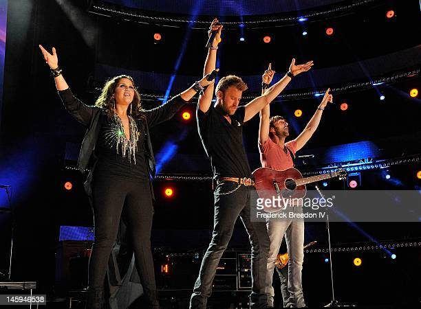 Hillary Scott, Charles Kelley, and Dave Haywood of Lady Antebellum performs during the 2012 CMA Music Festival on June 7, 2012 in Nashville,...