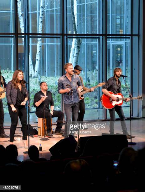 Hillary Scott Charles Kelley and Dave Haywood of Lady Antebellum perform onstage during the 2014 CMT Upfront on April 2 2014 in New York City