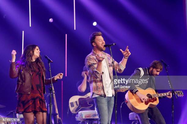 Hillary Scott Charles Kelley and Dave Haywood of Lady Antebellum perform onstage during CBS RADIO's Third Annual 'Stars and Strings' Concert to honor...