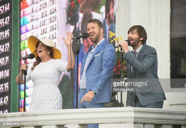 Hillary Scott Charles Kelley and Dave Haywood of Lady Antebellum perform the National Anthem at the 142nd Kentucky Derby at Churchill Downs on May 7...