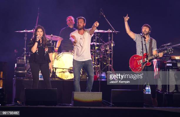 Hillary Scott Charles Kelley and Dave Haywood of the band Lady Antebellum perform at the 2018 Let Freedom Sing Music City July 4th concert on July 4...