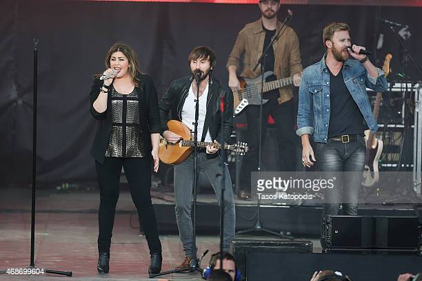 Hillary Scott Charles Kelley Dave Haywood of Lady Antebellum performs onstage during the Capital One JamFest at the NCAA March Madness Music Festival...