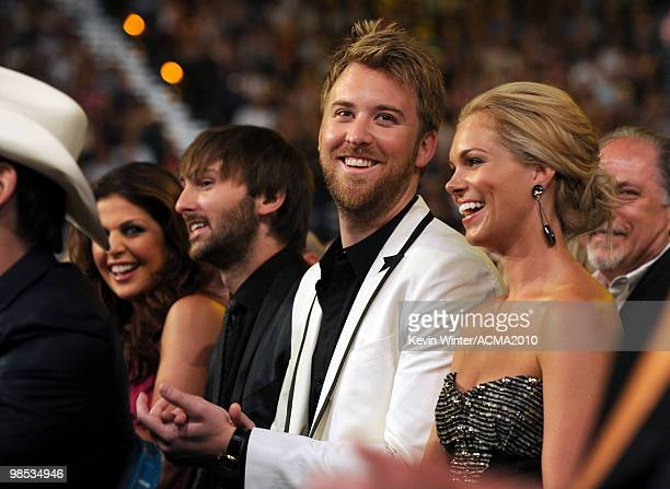 Hillary Scott Dave Haywood and Charles Kelley of Lady Antebellum and Cassie McConnell during the 45th Annual Academy of Country Music Awards at the...