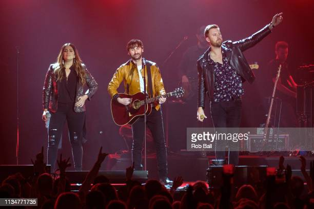 Hillary Scott Dave Haywood and Charles Kelley of Lady Antebellum perform at C2C Country to Country at The O2 Arena on March 09 2019 in London England