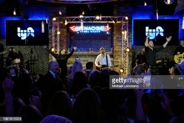 Hillary Scott Dave Haywood and Charles Kelley of Lady Antebellum perform on stage for Big Machine Label Group as they celebrate the 52nd annual CMA...