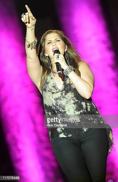 Hillary Scott of Lady Antebellum performs during The 2011 Country Stampede Day 2 at Tuttle Creek State Park on June 24 2011 in Manhattan Kansas