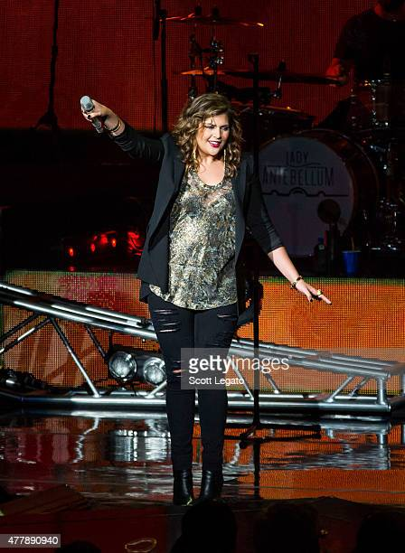 Hillary Scott of Lady Antebellum performs in support of the Wheels Up 2015 Tour at DTE Energy Music Theater on June 19 2015 in Clarkston Michigan