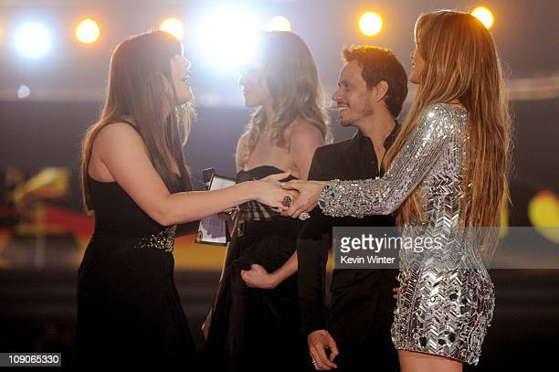 Hillary Scott of Lady Antebellum singer Marc Anthony and actress Jennifer Lopez speak onstage during The 53rd Annual GRAMMY Awards held at Staples...