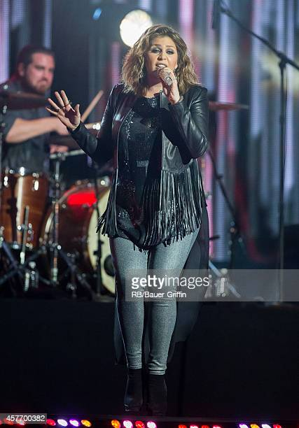 Hillary Scott of the band Lady Antebellum perform on 'Jimmy Kimmel Live' on October 22 2014 in Los Angeles California