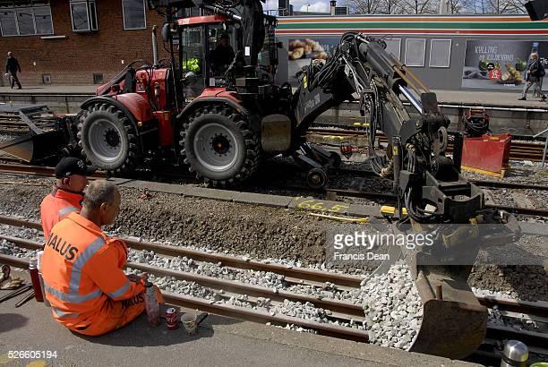 Hillerod/Hiller��d /Denamrk _28 April 2015_ DSB train track workers