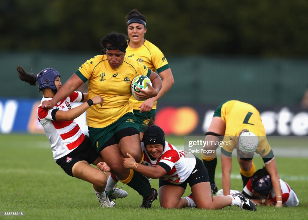 Hillisha Samoa of Australia charges up field during the Women's Rugby World Cup Pool C match between Australia and Japan at Billings Park UCD on August 17, 2017 in Dublin, Ireland.