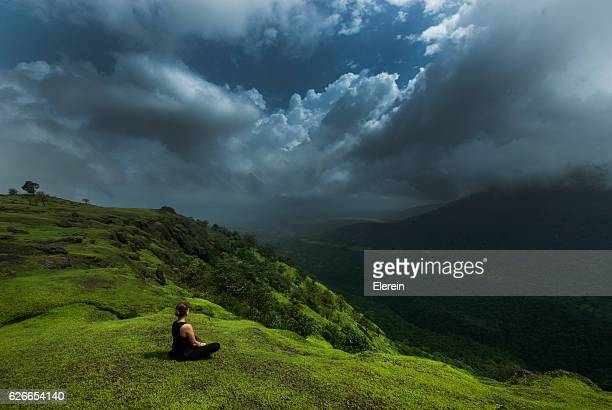 hills and clouds - monsoon stock pictures, royalty-free photos & images
