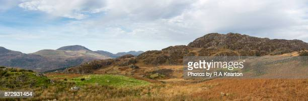 Hills and mountains of Snowdonia national park in autumn