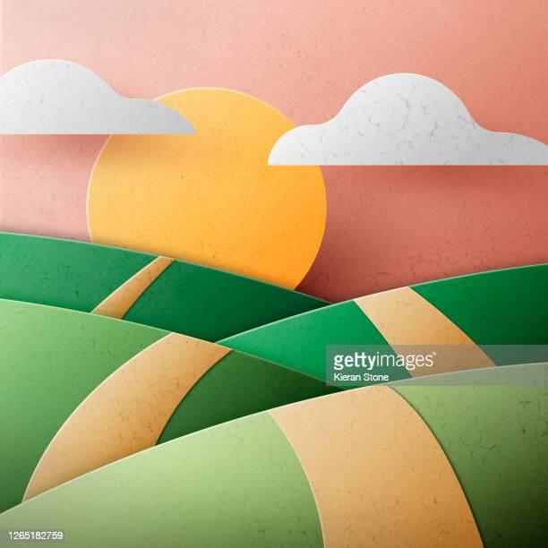 3d hills and sun - papierhandwerk stock-fotos und bilder