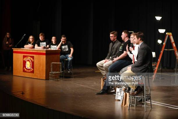 Hillsboro High School students left to right Shelby Johnson Dakota Klein Callyan Lacio and Dylan Wiens ask teenage candidates for Kansas governor...