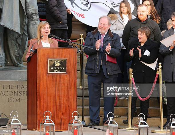 Hillsborough Family Support Group chairman Margaret Aspinall speaks as thousands of people gather outside Liverpool's Saint George's Hall to attend a...