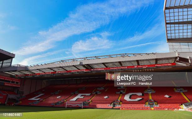 A Hillsborough Memorial banner hung at the Kop stand at Anfield on April 15 2020 in Liverpool England