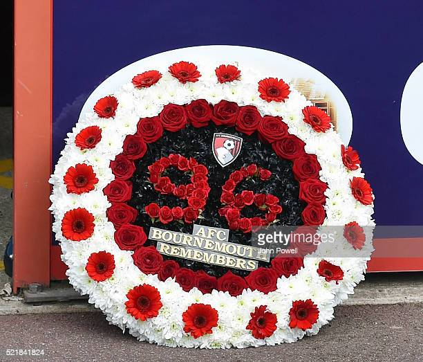 Hillsborough Memorial wreath presented by the two captians Lucas Leiva of Liverpool and Tommy Elphick of AFC Bournemouth before the Barclays Premier...