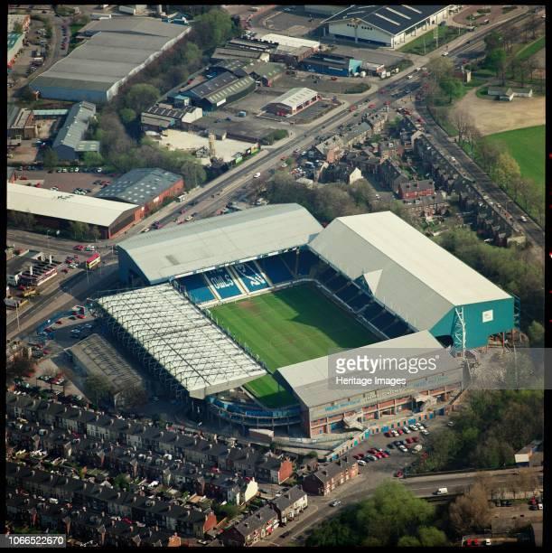 Hillsborough Stadium, Sheffield, South Yorkshire, 1995. Aerial view of the home of Sheffield Wednesday Football Club. Artist Aerofilms.